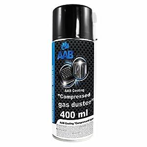 AAB Spray de Aire Comprimido 400ml para Limpiar Teclados, Ordenadores, Copiadoras, Cámaras, Impresoras y Otros Equipos Eléctricos, Efectividad Limpieza sin CFC's, Eliminación de Polvo, Limpiar PC