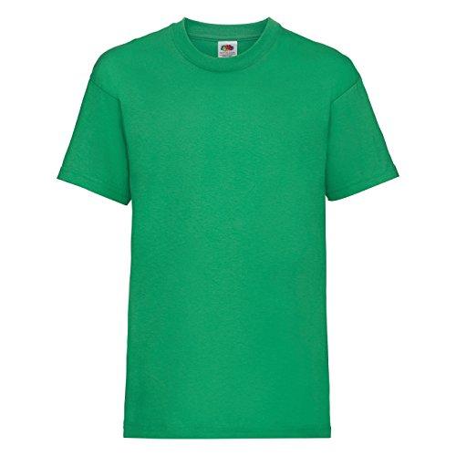 Fruit of the Loom - Camiseta básica de Manga Corta para niño/niña Unisex - 100% Algodon de Primera Calidad (Paquete de 2) (7-8 años) (Verde césped)