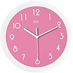 hito Silent Wall Clock Non Ticking 10 inch Excellent Accurate Sweep Movement Glass Cover, Modern Decorative for Kitchen, Living Room, Bathroom, Bedroom, Office (Bright Pink)