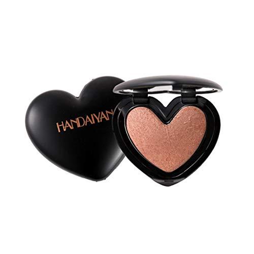 chenpaif Femmes Surligneur en Forme de Coeur Boîte avec Miroir Blush Palette Shimmer Éclaircir Pigment Glitter Ombrage Poudre Maquillage Longue Durée Cosmétique 6 Couleurs