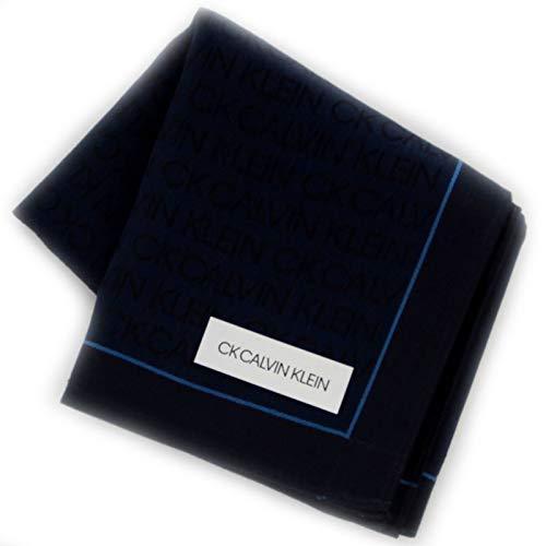 カルバンクライン 紳士 ハンカチ (ネイビー×ブルー) 大判 [綿100%] ビジネス メンズ ハンカチーフ 48cm CK CALVIN KLEIN 119033-9256-62