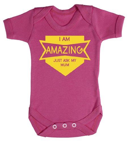 Baby Buddha - Amazing Just Ask My Mum Baby Bodysuit Baby Top 6-12M Pink