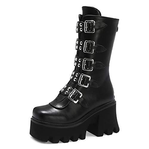 YIYA Women's Studded Mid Calf Combat Boots Black Goth Platform Boots Round Toe Buckle Chunky Heel Booties