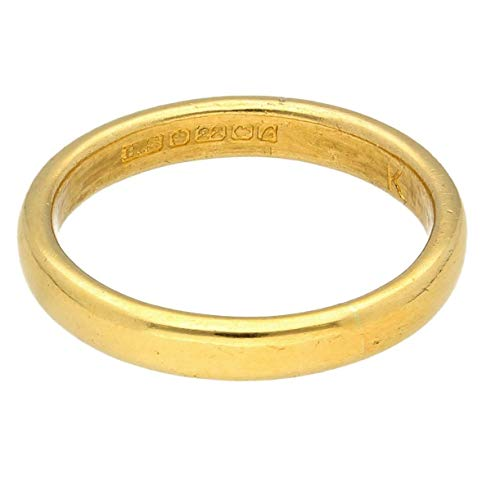 Womens Ring | 22Carat Yellow Gold Soft Court Wedding Band (Size M 1/2) 3mm Width | One of a Kind Jewellery