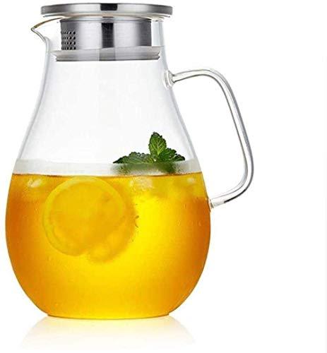 GHJA Jarra de Agua Jarra de Vidrio con Tapa Helada y Mango Jarra de Vidrio de borosilicato Resistente al Calor Vino Café Leche y Jugo Jarra de Bebida con Pico Taza de té (Tamaño: 1500 ml)