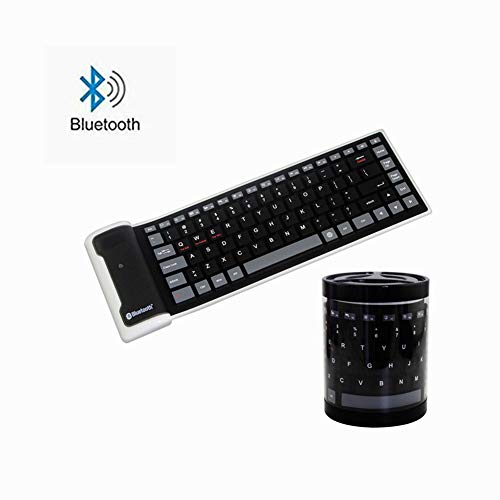 Mini Wireless Bluetooth Keyboard,Foldable Portable Silent Click Silicone Soft Waterproof Slim Rollup Keypad Rechargeable for PC Notebook Laptop (Black)