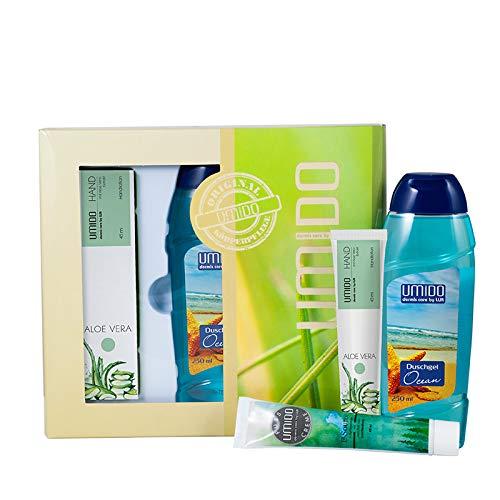UMIDO Beautyset | 1x Handlotion 45 ml Aloe-Vera | 1x Duschgel 250 ml Ocean | 1x Fußcreme 45 ml Latschenkiefer | 1x Geschenk-Box (6-BYS)