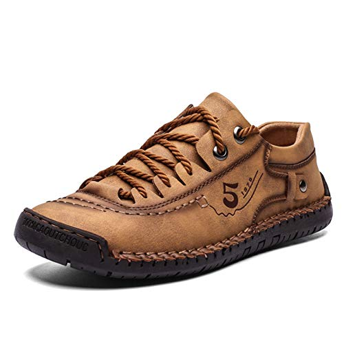 BAQI Men's Shoes Autumn And Winter Models Fashion Lightweight Tooling Shoes Men's Outdoor Casual Lace-Up Shallow Mouth Men's Shoes,golden yellow,39