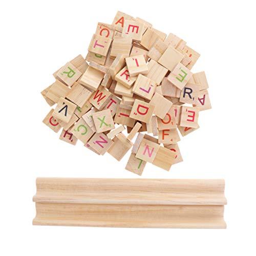 Supvox 102 Stücke Holz Brief Fliesen Scrabble Fliesen A-Z Großbuchstaben mit Basis Bord Pädagogisches Spielzeug für DIY Handwerk Anhänger Rechtschreibung Alphabet Untersetzer Machen