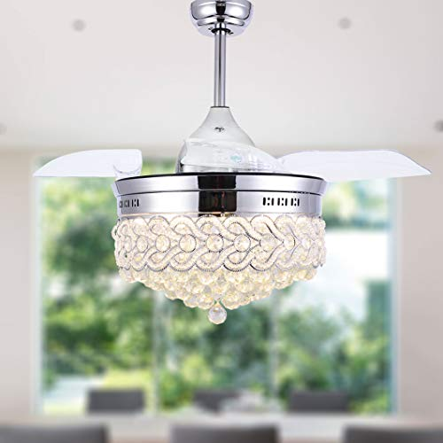 Bella Depot Modern Ceiling Fan Dimmable Chandelier Ceiling Fans with lights - Crystal ceiling fan with Retractable blades, Remote Control, Chrome Finish, 2 Down-rods Included