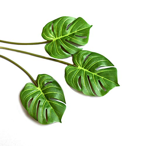 3 Pcs Artificial Tropical Palm Leaves Fake Monstera Tree Plant for Home Decorations 24.5 , Green