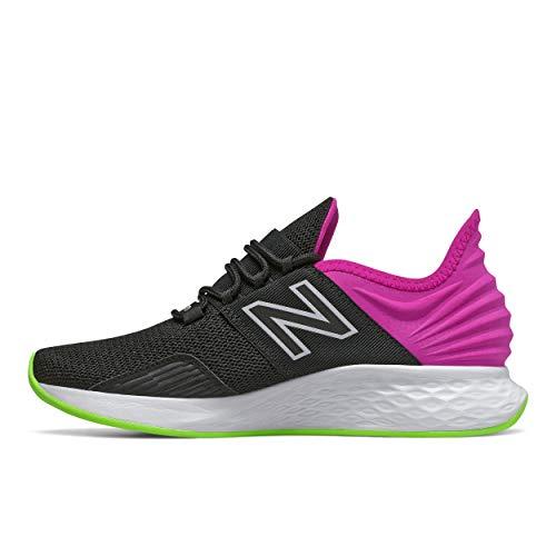 New Balance Women's Fresh Foam Roav V1 Lace Sneaker, Black/Poison Berry/Lime Glo, 8.5