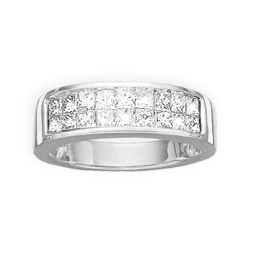 14K bianco oro 1ct. Doppia fila di principessa taglio diamante wedding Band