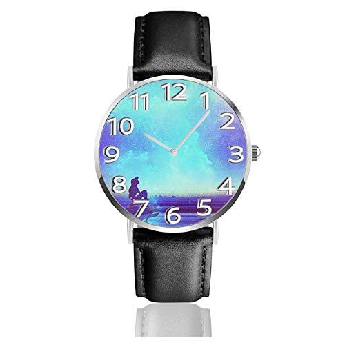 Relojes de Pulsera Galaxy Little Mermaid Reloj de Cuarzo con Correa de Cuero de PU para Hombre Mujer colección Regalo Unisex Informal de Negocios