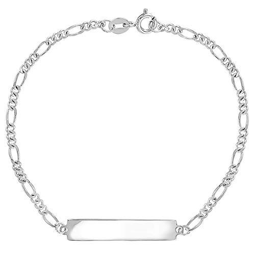 In Season Jewelry Plata Fina 925 Brazalete con Etiqueta de Identificación de 6.5' para Niño y Niña