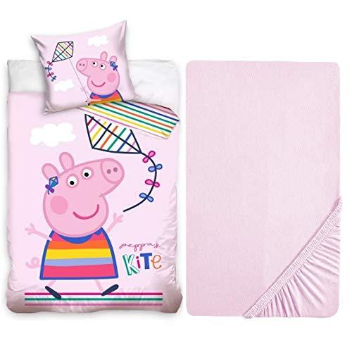 L.T.Preferita Peppa Pig - Juego de ropa de cama para bebé, cuna de bebé, funda nórdica + funda de almohada + sábana bajera ajustable