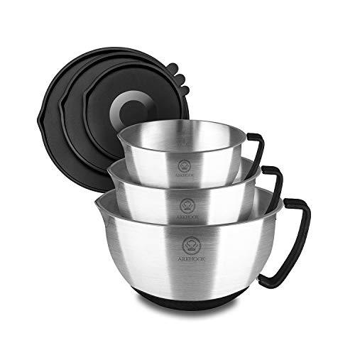 Arkhook Bol de Acero Inoxidable - Ensaladera inox, juego de 3 cuencos de cocina de acero inoxidable con asas antideslizantes y boquilla, bol para mezclar con tapas sin BPA y medidas graduadas