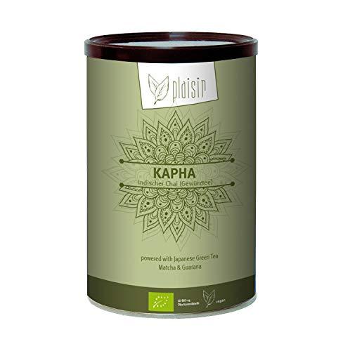 Bio Chai Pulver Plaisir vegan, indischer Gewürztee Kapha 350 gr. Dose (Consumer) mit grünem Tee, Matcha & Guarana, bio zertifiziertes, veganes Getränkepulver
