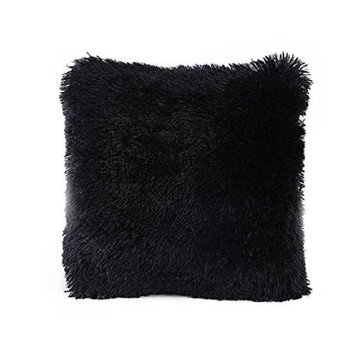 Vovotrade Nouvelle conception Coral Taie Sofa taille Throw Coussin Home Decor (Noir)