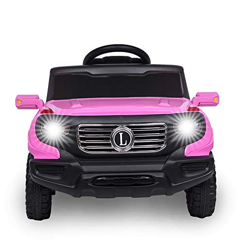 Kids' Electric Remote Control Truck, Kids Toddler Ride On Cars 6V Battery Motorized Vehicles Children's Best Toy Car Safe with 3 Speeds, Music, seat Belts, LED Lights and Realistic Horns (Pink)