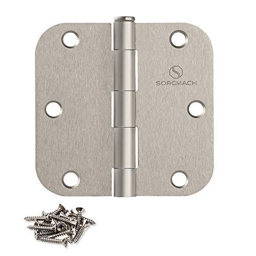 x 3.5 in Satin Brass Plain Bearing Steel Hinge with 1//4 in Radius Set of 2 Global Door Controls 3.5 in