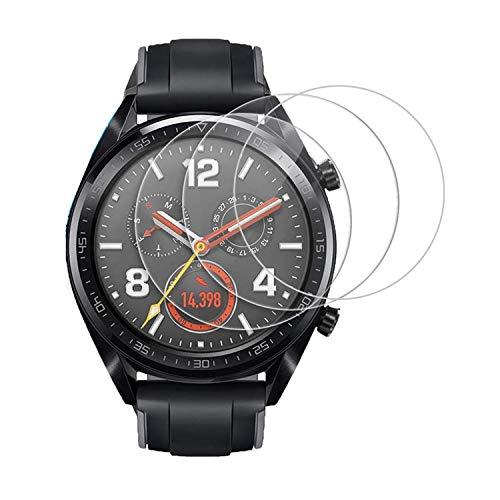 [3 Pezzi] Pellicola Vetro Temperato per Huawei SmartWatch GT 2 (46 mm), Weideworld Pellicola Protettiva per Huawei Watch GT2 46mm, Durezza 9H,Anti-riflesso,Ultra-Clear