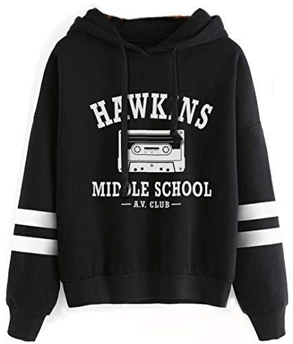 Silver Basic Sweat à Capuche Femme Mode Vintage Hawkins Middle School Club Pull Sport Mode de Rue M,Noir-1