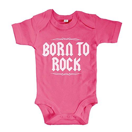 net-shirts Organic Baby Body mit Born to Rock Aufdruck Rock n Roll Heavy Metal Strampler Babybekleidung aus Bio-Baumwolle mit Zertifikat, Größe 3-6 Monate, pink