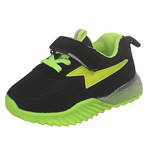 Lazzboy Kinder Baby Mädchen Jungen Atmungsaktives Mesh Led Luminous Sport Run Sneakers Schuhe Sneaker Hallenschuhe Sportschuhe Turnschuhe Laufschuhe Schnürer Freizeit(Grün,26)