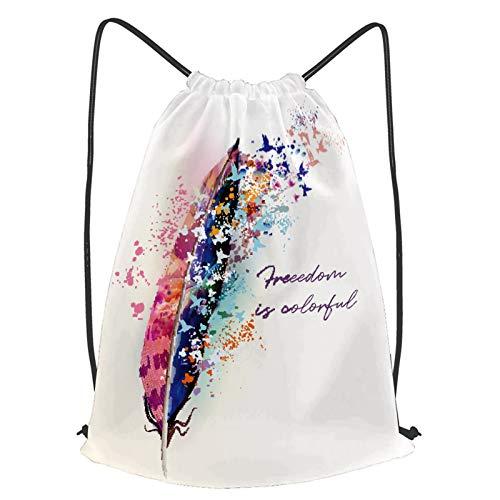 fudin Impermeable Bolsa de Cuerdas Saco de Gimnasio ilustración de moda boho pájaros de plumas de colores Deporte Mochila para Playa Viaje Natación
