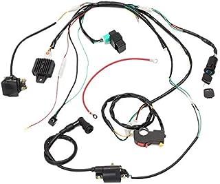 EWANYO Full Electric Wire Harness Wiring Loom CDI Ignition Coil Spark Plug Rebuild Kit for 150CC 200CC 250CC Electric Stator CDI Coil ATV Quad Bike Buggy Go Kart