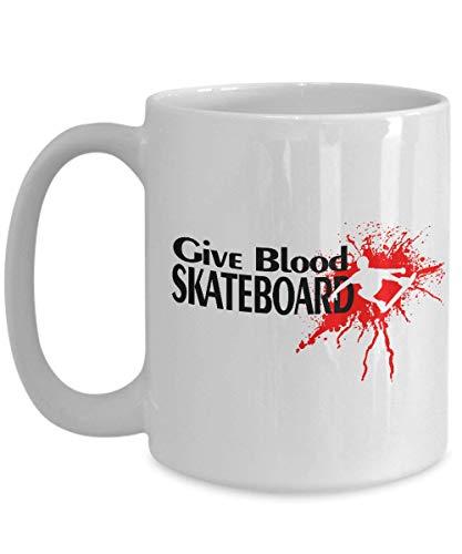 Dozili Skateboarder Geschenken Skateboarden Koffie Mok Skater Koffie Mok Keramische Theekop Cadeau voor Skateboarders, 11 Oz, Wit