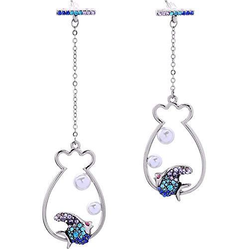 Pendientes Eardrop Dangler Joyas Para Mujer Asimétrica Geométrica Peces Perla Colgante Diamond Stud Earrings Mujeres Aretes De Moda