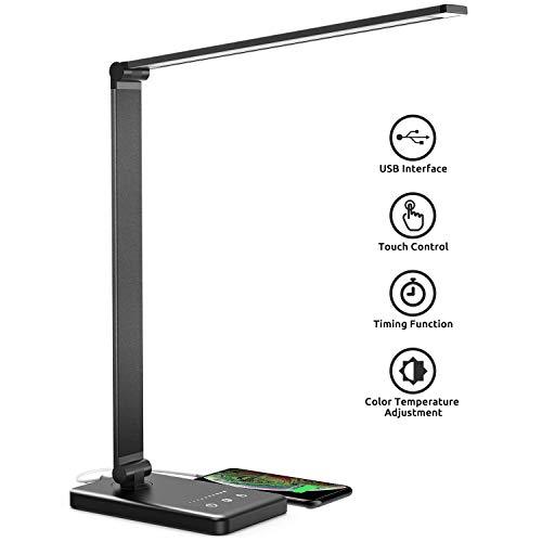 Bureaulamp, LED bureaulamp dimbaar met USB, draaibare LED tafellamp kantoorlamp, 5 kleurtemperaturen, tafellamp voor kantoor en thuis - zwart