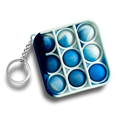 JANESVISSY Mini Push pop Bubble Fidget Sensory Toys,Mini Fidget pop Toys Keychain,Figetget Toys for Kids and Adult,Simple Dimple Fidget Pack, Stress Relief Gifts for Boys and Girls - Tie dye Blue