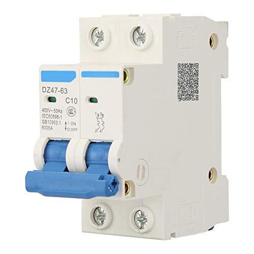 Disyuntor en miniatura DZ47-63 2 P Mini disyuntor Interruptor de corte de panel de doble polo Disyuntor 400VAC(10A)