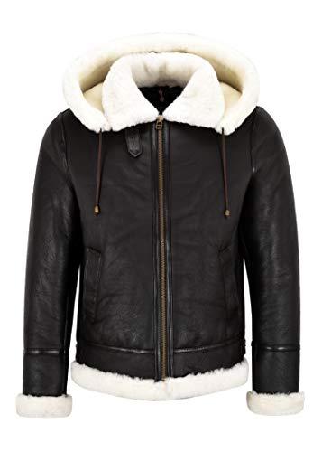 Smart Range Leather Giacca da Uomo con Cappuccio in Pelle di Montone B3 Nera con Vera Pelliccia in Shearling Bianco Giacca da Pilota Bomber B3 NV-65 (3XL)