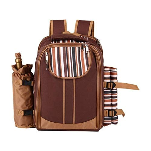 """EEGUAI Picnic Backpack Bag for 4 Person with Cooler Compartment,Wine Bag, Picnic Blanket(45""""x53""""),Best for Family and Lovers Gifts (Brown) (Color : Brown, Size : 19.687.8716.33inchs)"""