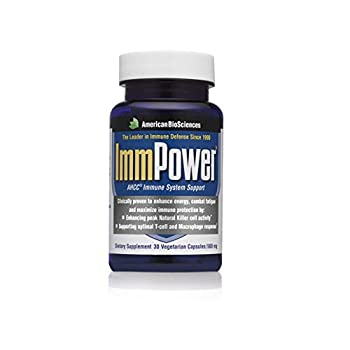 American BioSciences ImmPower AHCC Supplement 6-Pack Enhanced Immune Support Natural Killer Cell Activity and Cytokine Production 30 Vegetarian Capsules 500 milligrams per Capsule