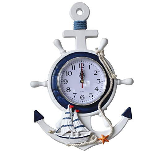Wakauto Reloj de Ancla de Estilo Mediterráneo Tema de Playa Náutico Barco Rueda Timón Decoración Colgante de Pared Decoración para Regalo Decoración del Hogar