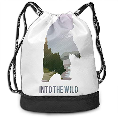 MLNHY Printed Drawstring Backpacks Bags,Wild Animals of Canada Survival In The Wild Theme Hunting Camping Trip Outdoors,Adjustable String Closure
