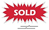 Sold Starburst Sign Rider - Red Real Estate Corrugated Sign Kit Includes 2-8' D-Wire Stakes