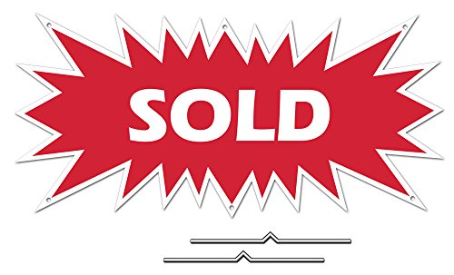 "Sold Starburst Sign Rider - Red Real Estate Corrugated Sign Kit Includes 2-8"" D-Wire Stakes"