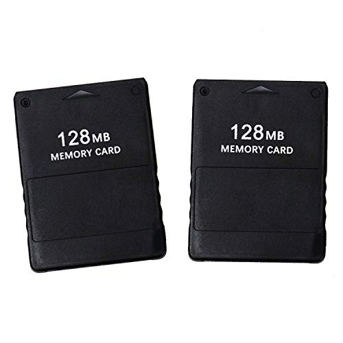 JETEHO 2Pcs 128MB High Speed Game Memory Card Compatible with Sony Playstation 2 PS2 (Black)