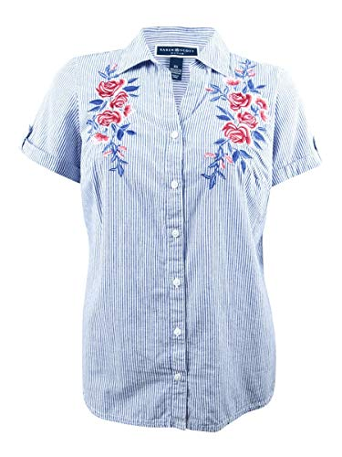 Price comparison product image Karen Scott Womens Plus Embroidered Striped Button-Down Top Blue 1X