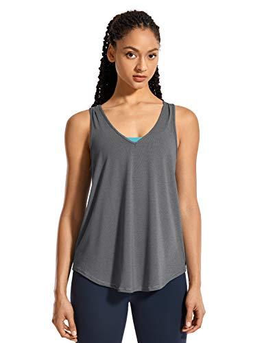 CRZ YOGA Mujer V Neck T-Shirt Camiseta sin Mangas de Entrenamiento Fitness Camisolas Pluma Negra Gris 42