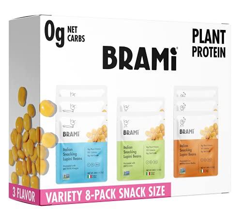 BRAMI Lupini Beans Snack, Mini   4g Plant Protein, 0g Net Carbs   Vegan, Vegetarian, Keto, Plant Based, Mediterranean Diet, Non Perishable   1.06 Ounce (8 Count) (Variety)