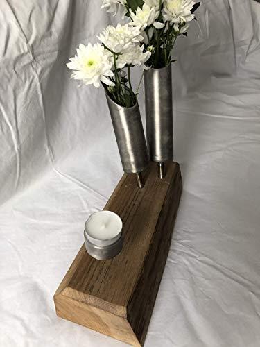 Edelstahlvase Kerzenständer Eichenholz rund Dekoration Deko