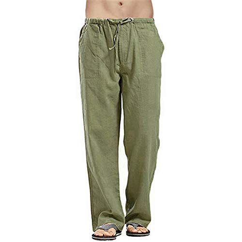 YUNSW Pantalon De Jogging en Coton Et Lin en Coton Naturel pour Hommes Pantalon De Jogging Mince D'Été Pantalon De Course Ample Élastique pour Hommes Décontracté