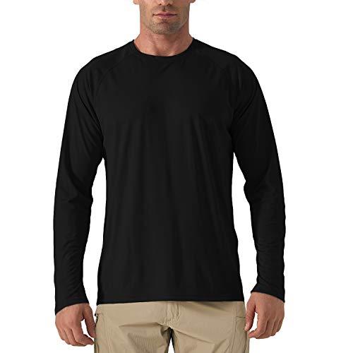KEFITEVD Männer Langarmshirt UV Schutz Shirt Sommer Outdoor Sport Fitnessshirt Federball Tennis Trainingsshirt Quick Dry Bewegungsfrei Basic Shirt Schwarz 3XL
